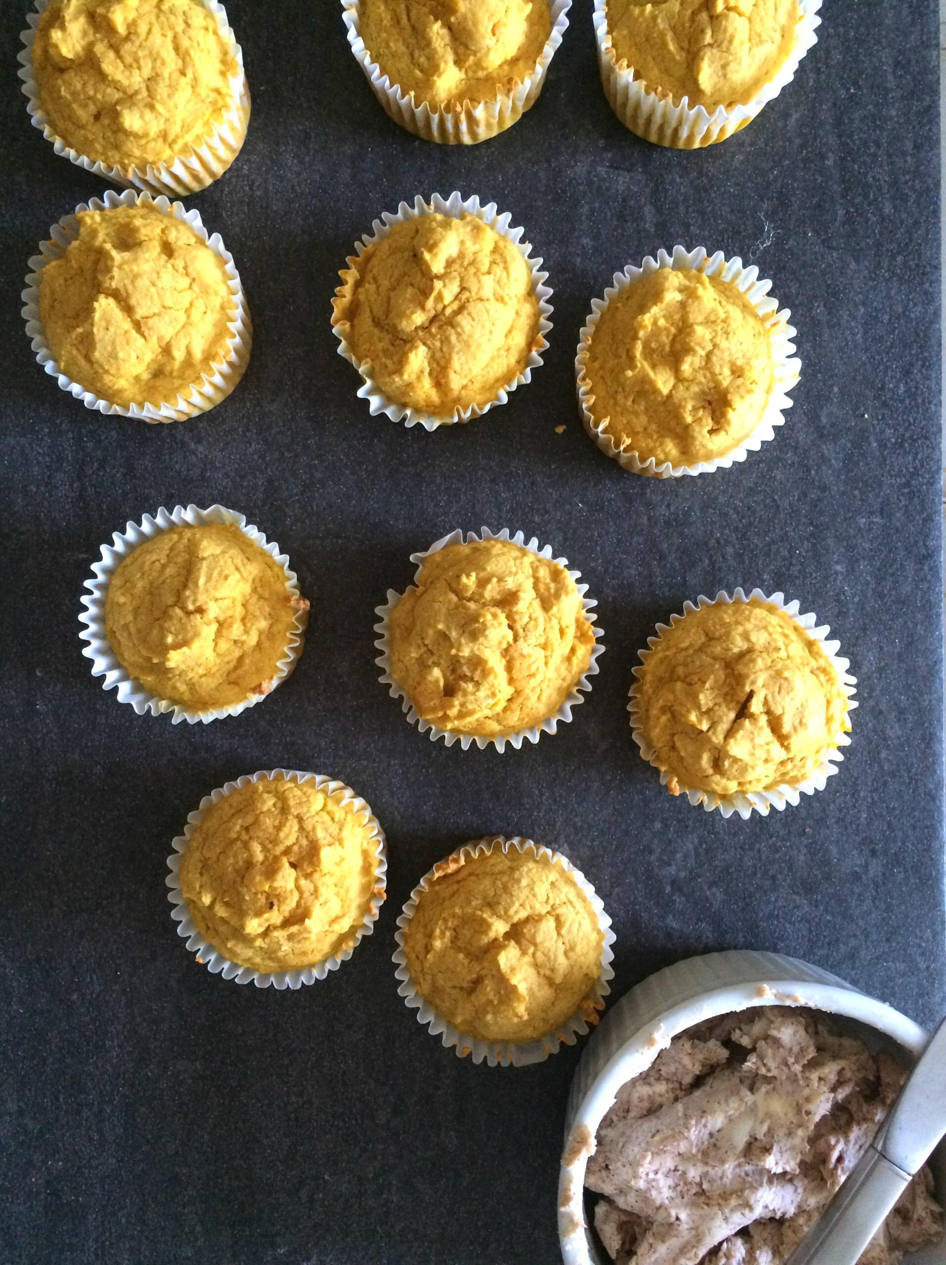 Pumpkin Cornbread Muffins with Maple Cinnamon Butter